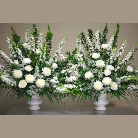 W Flowers product: White Altar Arrangements