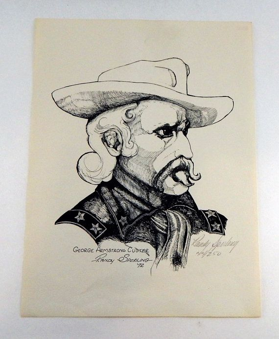 George Armstrong Custer By Randy Sperling 1972 - Original Signed Ink Etching 44/250 - Native American - Indian - American Indian Wars
