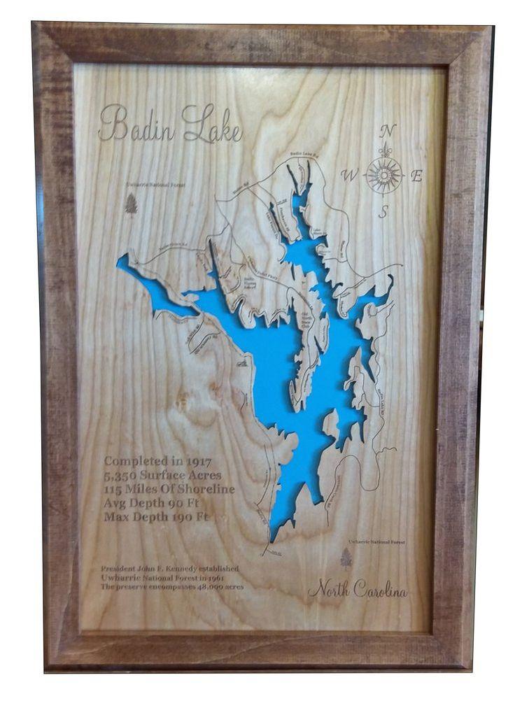 Badin Lake North Carolina Wood Laser