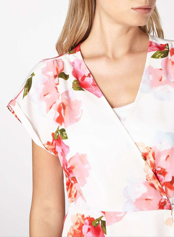 Womens Floral Wrap Top- White