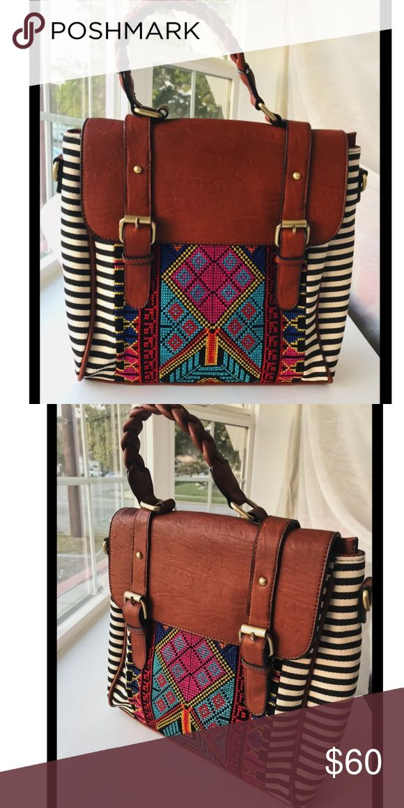 """Satchel Bohemian style with inspired Aztec design✨ Brand New. Convertible.  Medium Satchel with Aztec inspired design.  Durable with canvas and faux leather.  Bohemian Satchel for everyday use.  Convertible Satchel- can be used as a backpack as well.   12"""" W x 6"""" D x 11.5"""" H ✨✨✨✨✨ High Quality! Bags Satchels"""
