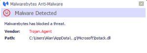 Trojan.agent est un cheval de Troie dangereux qui peut mal fonctionner totalement l'ensemble des paramètres du système. Les programmes antivirus comme malwarebytes continue à bloquer cette Trojan.agent ces jours à plusieurs reprises.