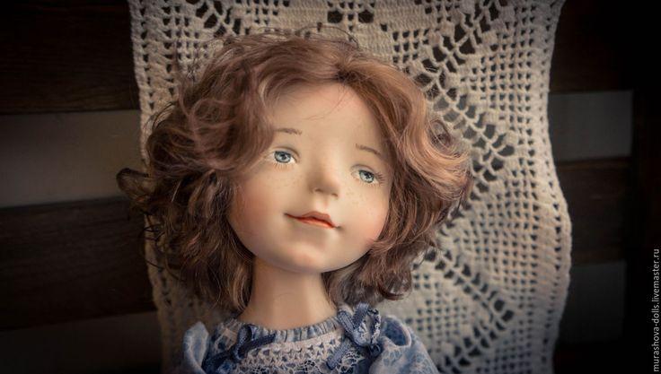Купить Девочка в голубом - голубой, авторская ручная работа, авторская кукла, болтушка, любить и жаловать
