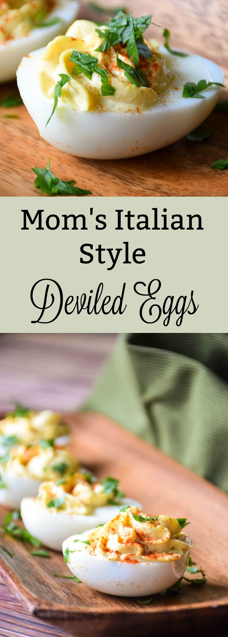 Mom's Italian Style Deviled Eggs are full of flavor from fresh garlic and cayenne pepper. These little treats are perfect for your next picnic! #ad