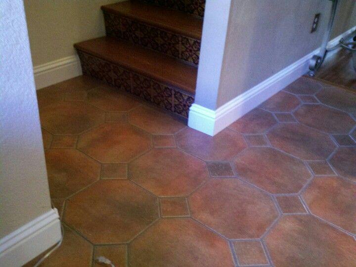 Octagon Tile Floor Tiled Floor Pinterest White Baseboards Brown