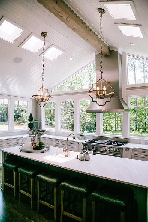 Gorgeous Kitchen Features A Vaulted Ceiling Accented With