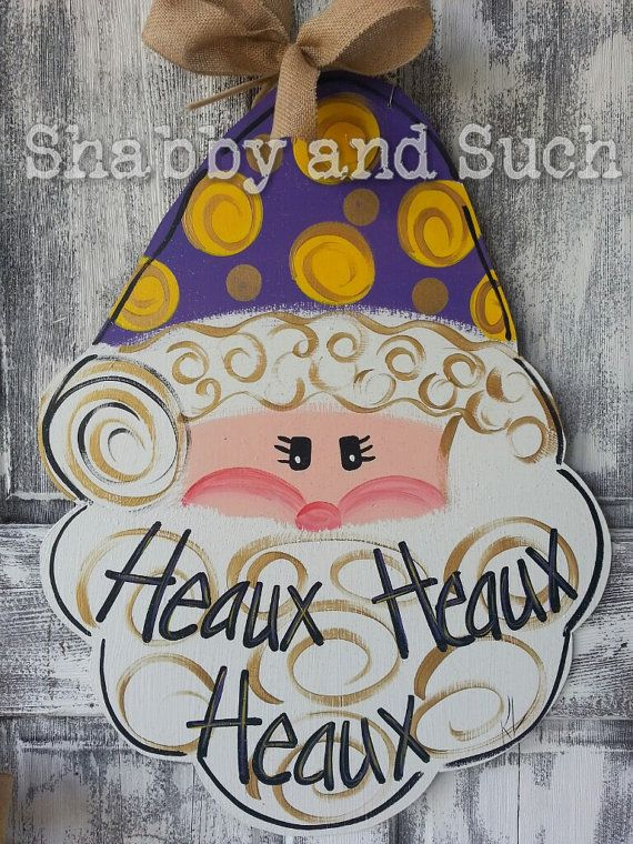 LSU Santa Christmas Holiday Wood Door Hanger Door Sign