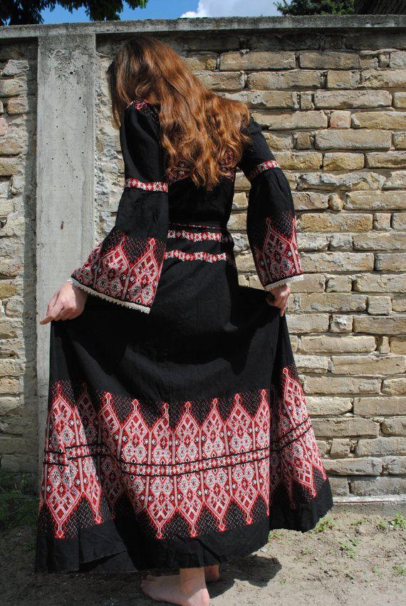 Boho dress, boho maxi dress, vintage folk dress, embroidered dress, ethnic dress, black maxi dress, vintage maxi dress, festival dress