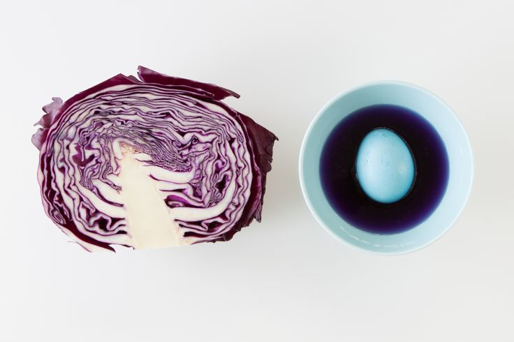 Bright Blue Easter Eggs: Boil ¼ head of cabbage with 4 cups water. Add 2 tbsp white vinegar and let cool overnight. Strain.