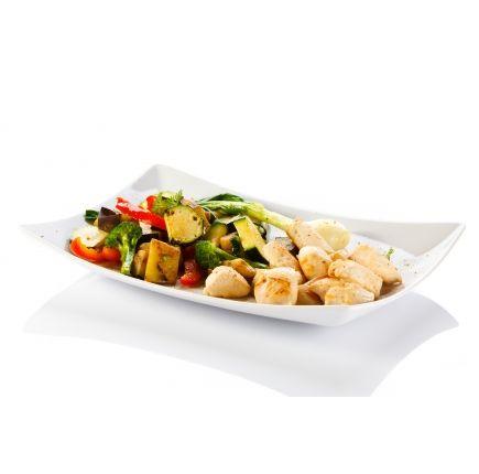 Poulet basquaise Linéadiet (minceurmoinscher.com) Poulet aux légumes du soleil hyperprotéiné  prêt à l'emploi  Les beaux jours approchent et les plats ensoleillés s'invitent dans votre régime, avec ce plat de poulet aux légumes du soleil hyperprotéiné, prêt à être dégusté en toute légèreté. Perdez du poids sans vous  priver avec ce délicieux filet de poulet vapeur, des légumes aux accents méditerranéens accompagnés bien sûr d'herbes de Provence. Le tout prêt à l'emploi !