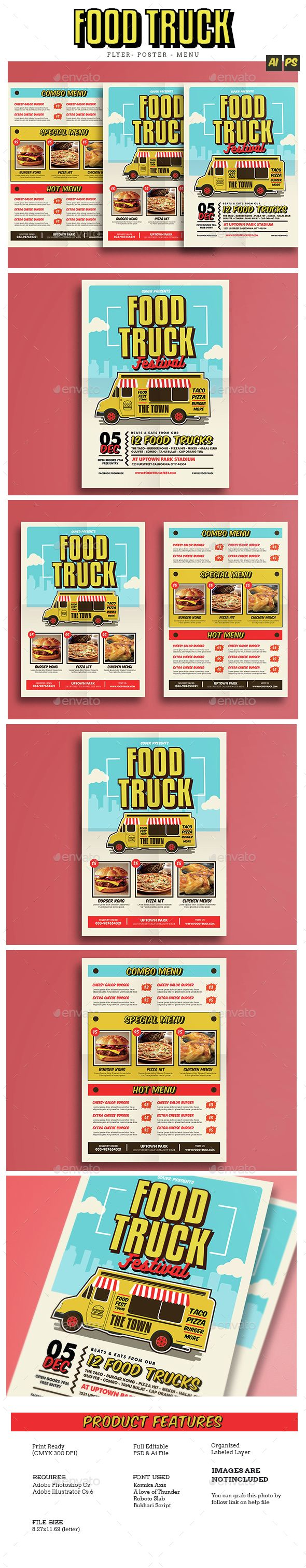Pop Art Food Truck Flyer / Poster / Menu Template PSD, Vector AI. Download here: http://graphicriver.net/item/pop-art-food-truck-flyerpostermenu/14857358?ref=ksioks