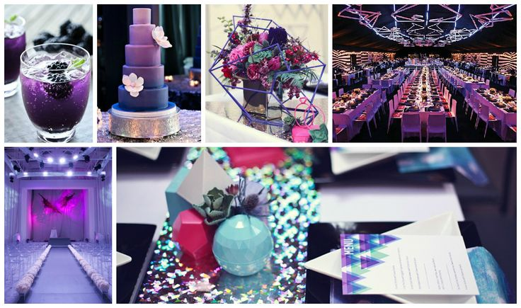 Cassandra's futuristic Reception was designed as part of an event design project for her AAWEP course.  The colour palette works beautifully with her Retro 1950's board which features hot pink.