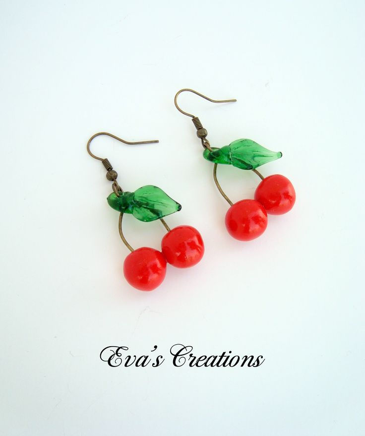 Earrings with cherries