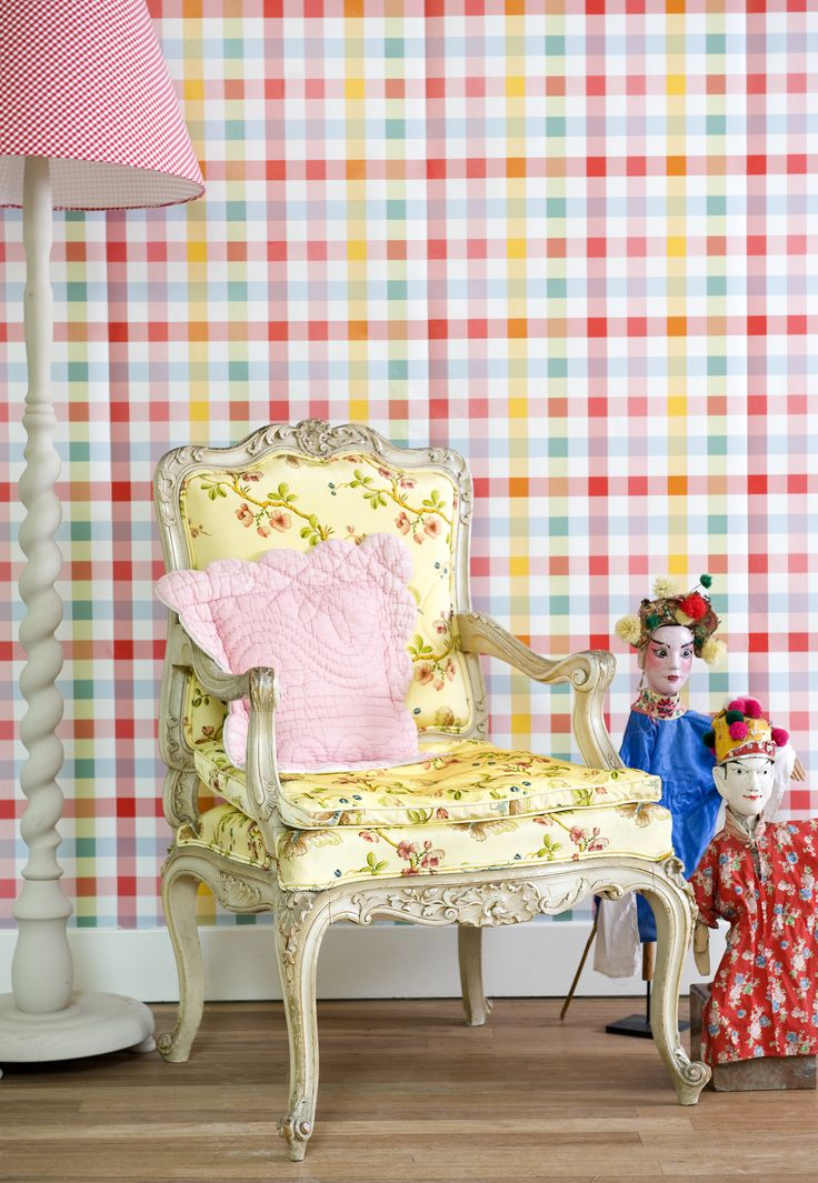 Multi-Check Wallpaper Design 2000151 Room Setting A fun and playful multi-coloured gingham check design. Perfect for any kids room. This wallpaper is washable, with good light resistance and strippable. Room Seven was established in 1995 by Brechtje Olsthoorn, daughter of the founders of Oilily. Together with Coordonne they have designed a beautiful collection of wallpapers.  #Paper Moon #Wallpaper #Coordonne #Room Seven
