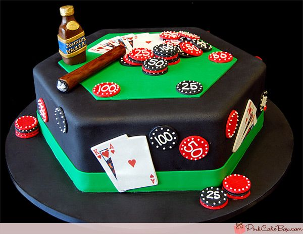 Happy Birthday Poker Cake by Pink Cake Box in Denville, NJ.  More photos at http://blog.pinkcakebox.com/happy-birthday-poker-cake-2007-04-02.htm  #cakes