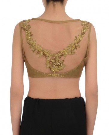 Regalia by Deepika  - Golden Sequined Blouse with Hand Embroidery
