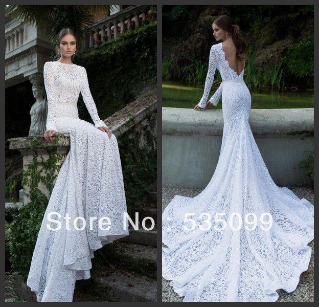 2014 Berta Elegant Slim Fit Mermaid Gown White Lace Long Sleeve Chapel Train Backless Wedding