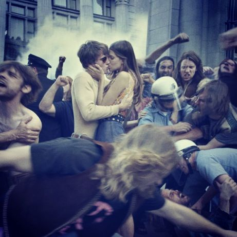 One of the most beautiful photos ever taken, a couple kissing in the 1971 May Day Protests( ray-ban ad)