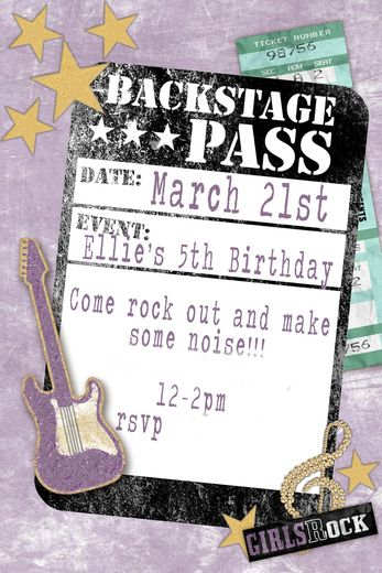 invitation rock star birthday party