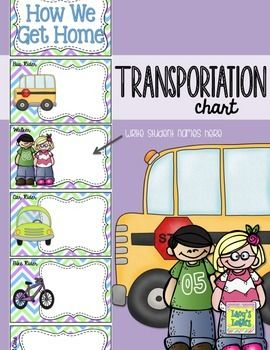 Transportation Chart - includes bus rider, car rider, walker, bike rider, and after school care