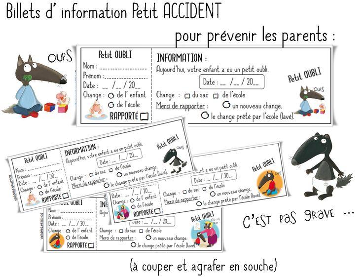 Une partie à coller dans le cahier de liaison, l'autre à conserver en classe ... Télécharger « Billets info petits accidents pour les parents.pdf »