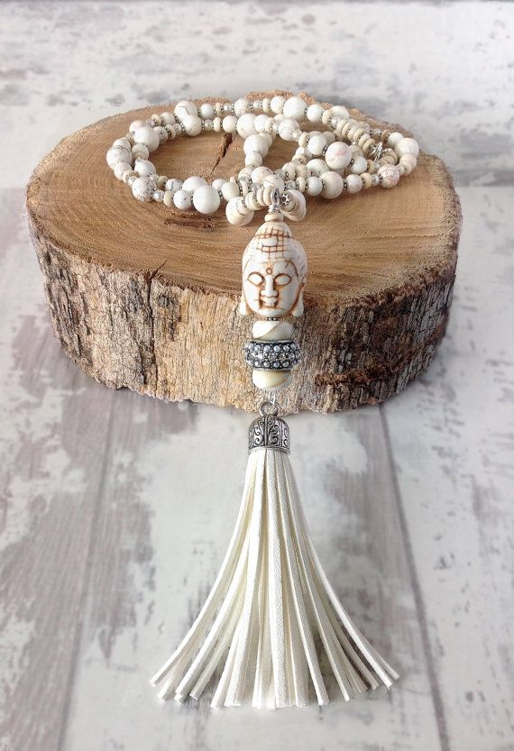 buddha necklace white necklace  long beaded boho necklace