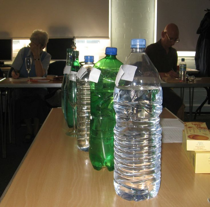 Could you identify different types of French bottled water?