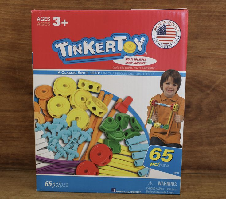 Tinker toy perfect for the little engineer in your home! 65 piece building toy. Best for ages 3 and up. Made in the USA.