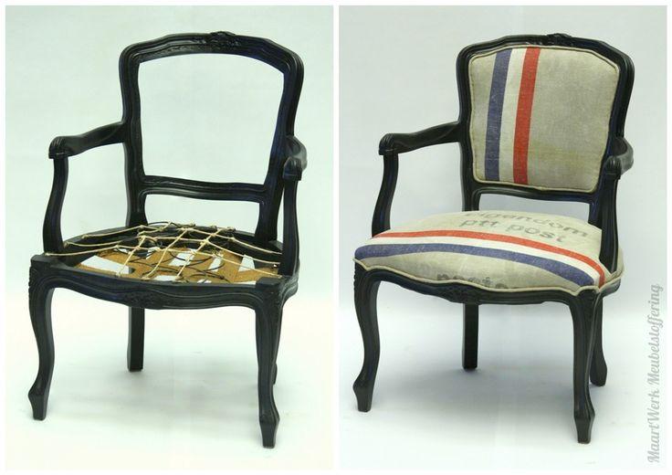 Upholstery, Meubelstoffering, postzak, PTTpost, fauteuil. Voor en Na.