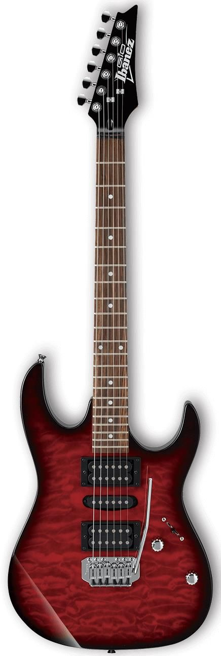 Ibanez GIO GRX70QA. This is a 3 pickup superstrat with humbucker pickups in the neck and bridge positions with a single coil pickup in the middle. It has a street price of $199.99. For a detailed guide to cheap electric guitars see https://www.gearank.com/guides/cheap-electric-guitars