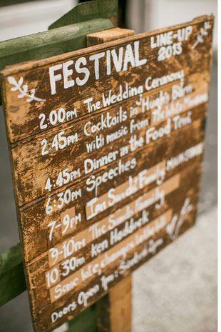 festival wedding sign | Read more on http://onefabday.com/festival-style-wedding-ideas/