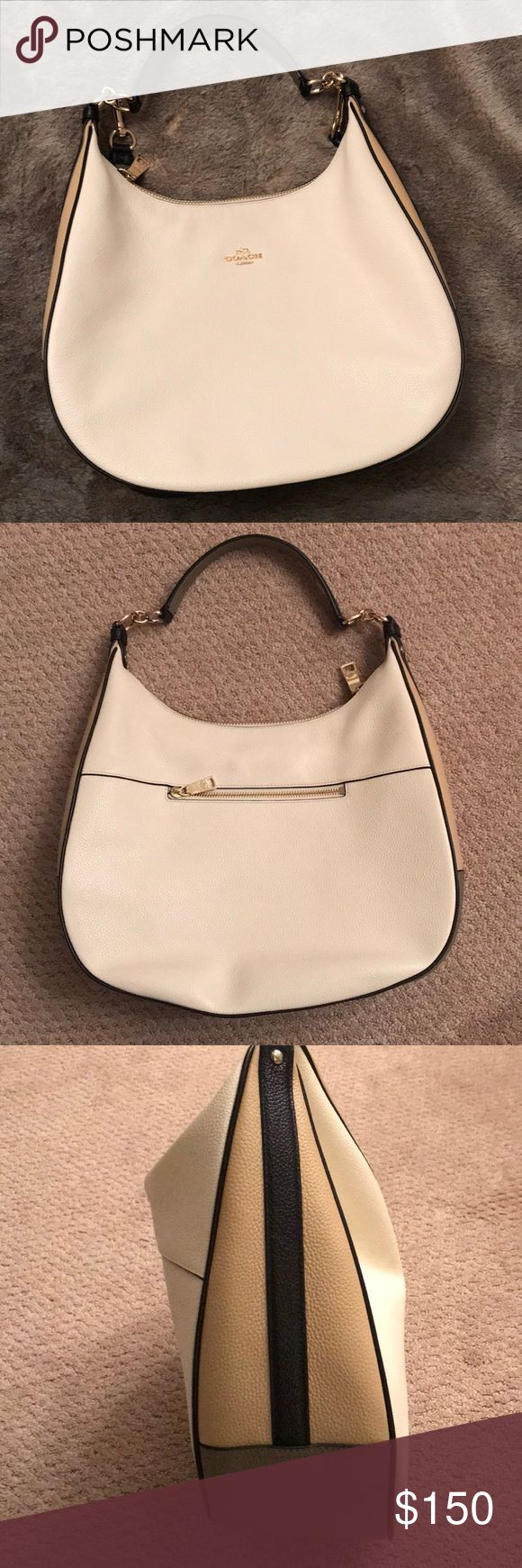 Coach Colorblock Harley hobo bag Gorgeous creamy leather Coach hobo bag! Multi color. Cream on front and back, tan on sides  - dark on the bottom - great for not letting the bottom get dirty. I think I literally used this bag once. Use it as a shoulder bag - or a cross body. Comes with removable long strap. NO SIGNS of use. Would be a great winter white bag - or summer bag. Coach Bags Hobos