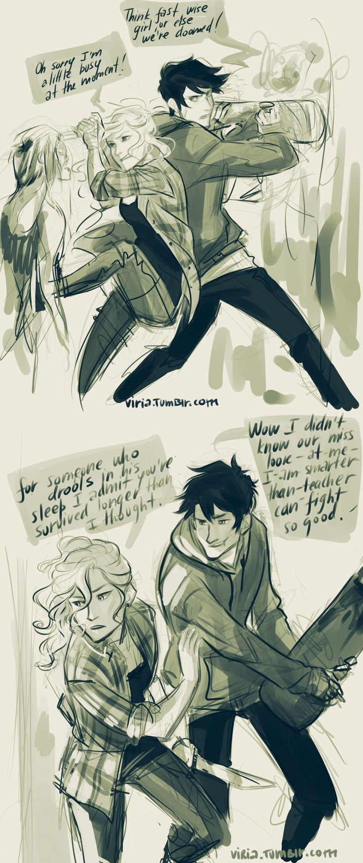 viria: -I saved your life. -Oh, don't give yourself too much credit, Seaweed Brain. so basically someone wrote 'percabeth zombie au' in my askbox and the exact same second I closed everything and started drawing because zombie apocalypse aus are always like the best thing.