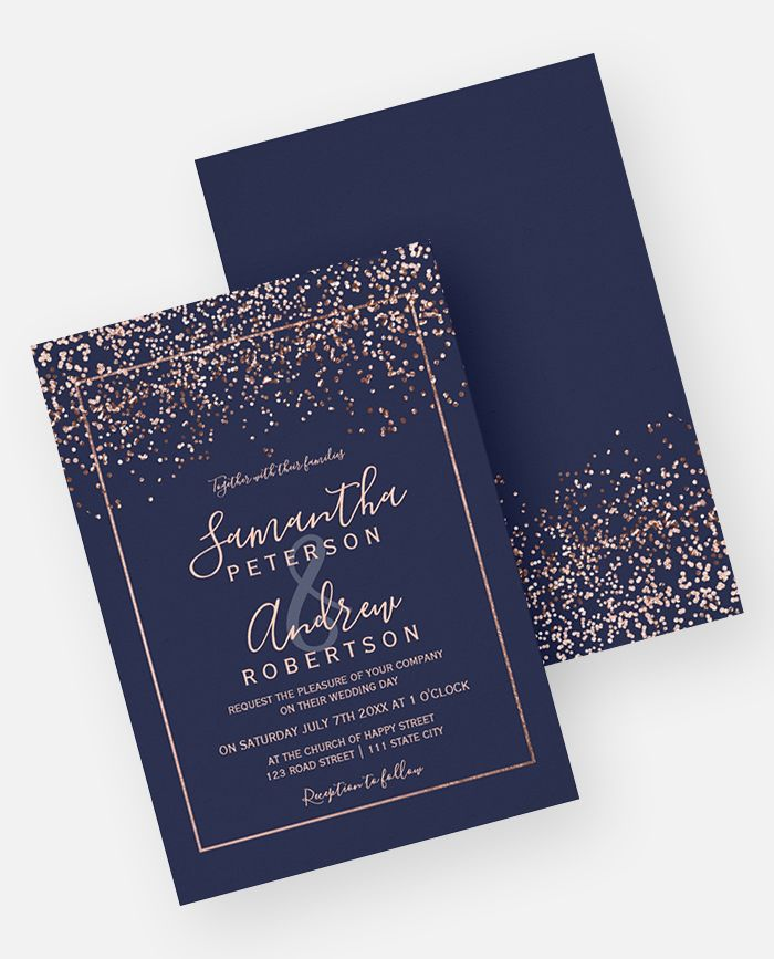 Navy Blue And Gold Wedding Invitations: Rose Gold Confetti Navy Blue Typography Wedding Invitation