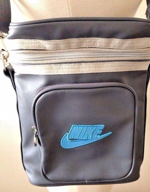 Nike Shoulder Bag Gray Cross Body Blue Logo Zipper Top Multi Use Purse Gym EUC #Nike