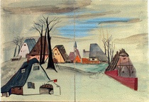 """Scenery design  for the staging of """"The Broken Vase"""", 1953"""