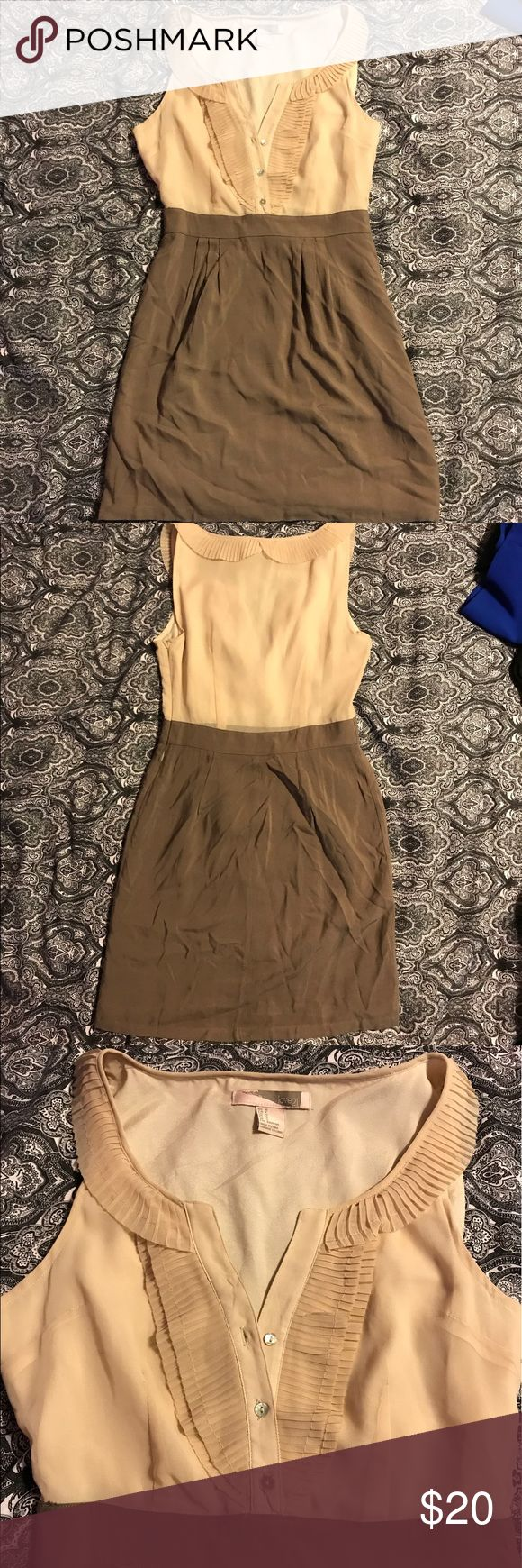 NWOT Cream and tan skirt and shirt style dress Lovely cream/pink chiffon style top with attached soft brown skirt, with zip on side. never worn Forever 21 Dresses