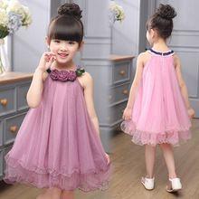 Crianças Vestidos Para Meninas de Boa Qualidade Sem Mangas O Pescoço Roupa