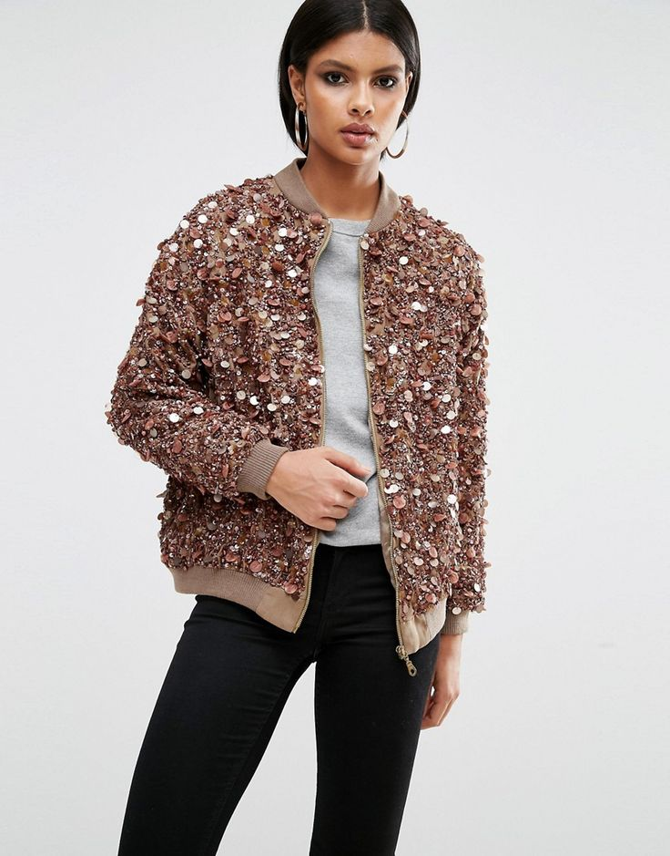 Image 1 of A Star Is Born Heavy Embellished Bomber Jacket