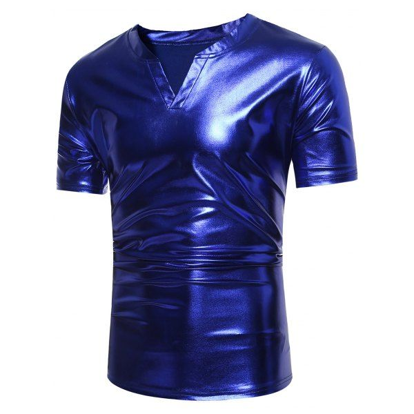 $10.15 Notch Neck Metallic Tee - Blue - Xl