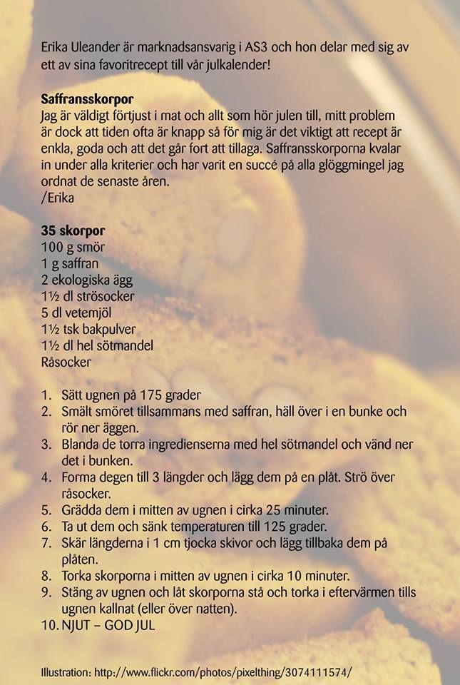 Saffransskorpor - recepttips från julkalender https://www.facebook.com/AS3Sverige