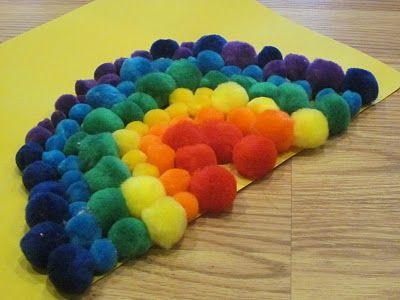 Pom-pom rainbow craft!: Rainbows Pom, Kids Preschool, Rainbows Crafts, Rainbows Toddlers, Kids Crafts, Toddlers Crafts, Pom Pom, Preschool Crafts, Pom Rainbows