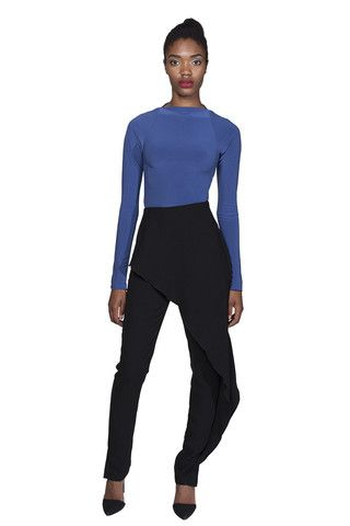 BAZZUL Bayview black skinny dress pant with ruffle overlay | www.bazzul.com