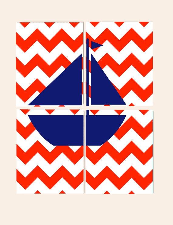 Nautical Nursery- Nautical Kids Room- Set of 4 Prints- Red Blue Chevron Sailboat- Wall Art for Playroom- Baby Nursery Room Decor via Etsy