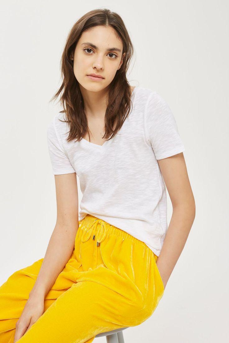 White Slub V-Neck T-Shirt - Tops - Clothing - Topshop