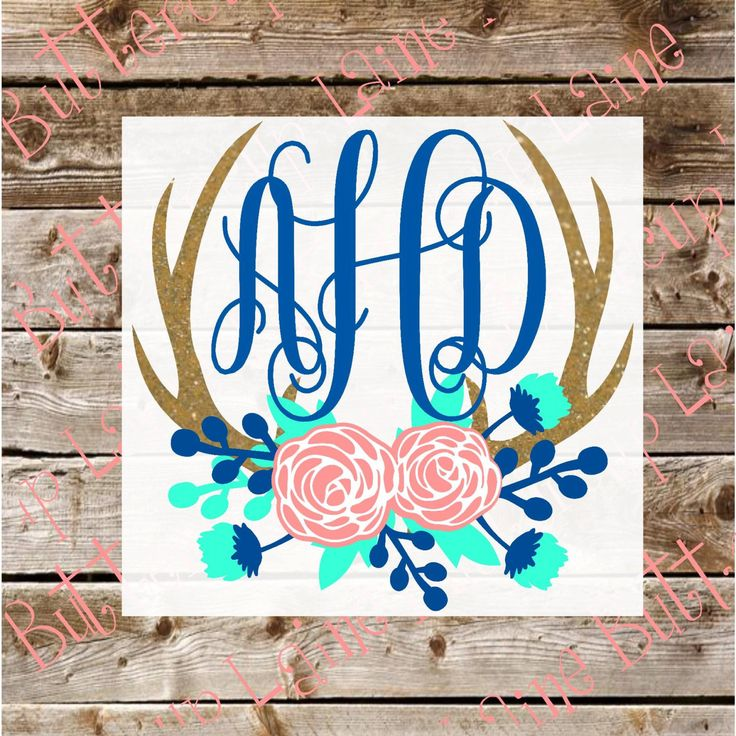 Glitter Deer Antlers Floral Monogram Yeti Decal by ButtercupLaine on Etsy