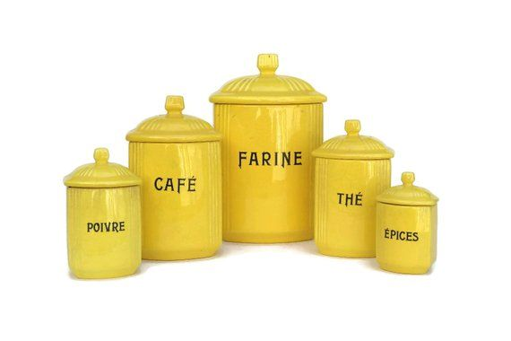 Yellow Kitchen Canister Set. French Art Deco Ceramic ...