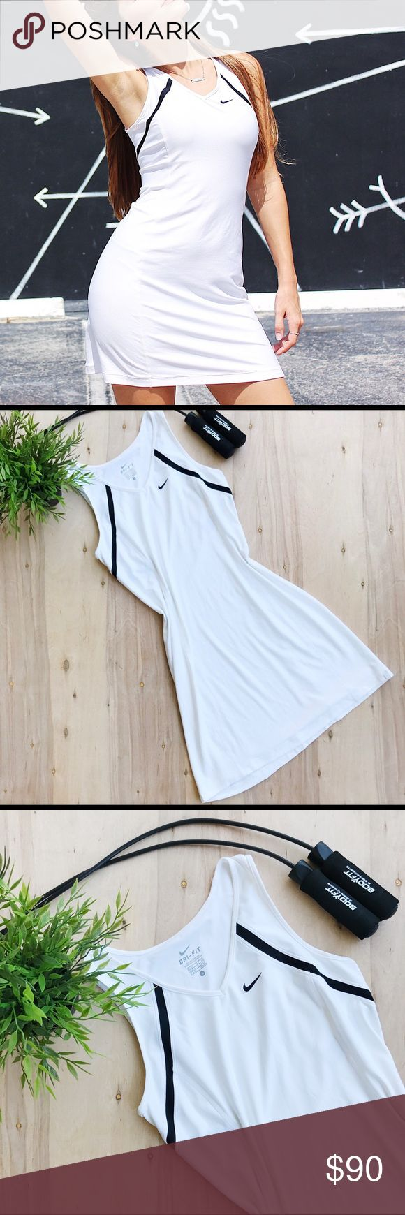 Nike dri fit tennis dress White Nike dress with black stripe embellishment on bust area. Dri - fit material. Breathable and quick drying. Size: Small  ▪️ All measurements are approximate and measured while garment is laid flat:  Armpit - armpit: 15 inches  Length: 32 inches. Nike Dresses Mini