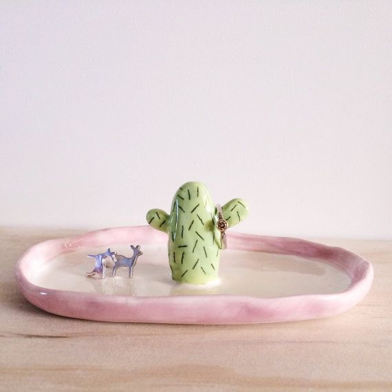 Ceramic Jewelry Tray with Cactus Ring Holder
