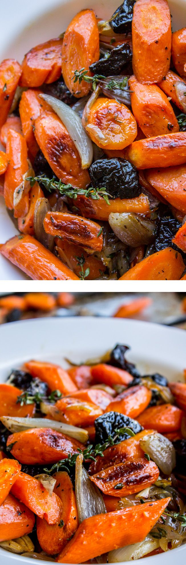 Apple Cider Roasted Carrots with Plums from The Food Charlatan. These tender carrots are roasted in apple cider sweetness that gives them an incredible glaze! Halfway through roasting, add a handful of dried plums. It's an awesome combo and perfect with the turkey and gravy on your Thanksgiving plate! #Thanksgiving #carrots #shallots #prunes #sidedish #roasted